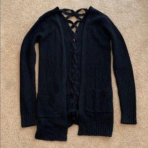 Full Tilt black open lace back knit cardigan XS